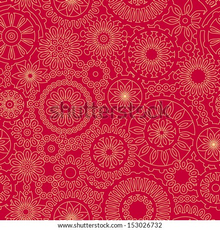 Lacy circles delicate seamless pattern in golden and red. Raster version, editable vector file also available at my port. - stock photo