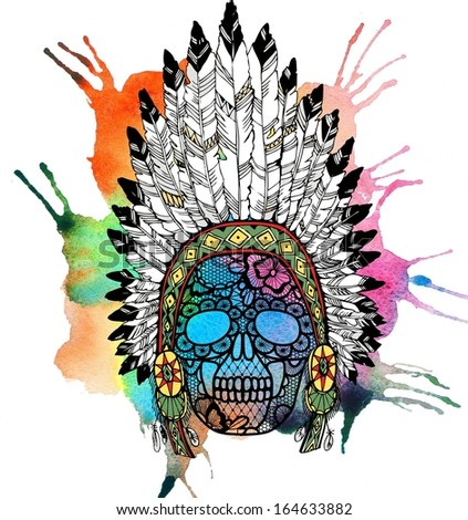 Lacy human skull in native american indian chief headdress. Raster illustration.