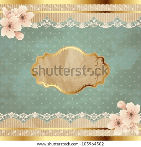 Lacy square banner with flowers (jpg); EPS10 version also available - stock photo