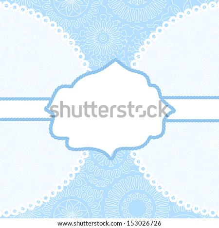 Lacy white frame card template in blue. Raster version, editable vector file also available at my port. - stock photo