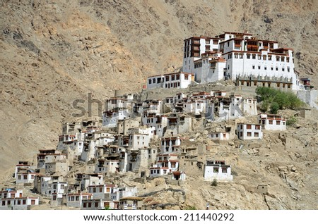LADAKH, INDIA - AUGUST 1, 2014: Chemrey Gompa is a Buddhist monastery that was founded in 1664.It is about 40 kilometres east of Leh, northern India. - stock photo