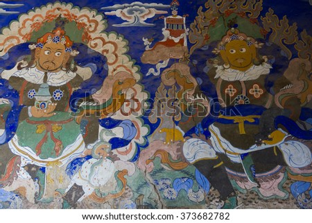 LADAKH, INDIA- OCTOBER 20, 2015: Buddhist religious painting on the wall of a monastery in LEH, INDIA.