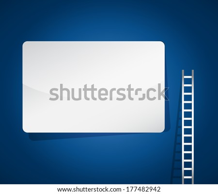 ladder and blank sign illustration design over a blue background - stock photo
