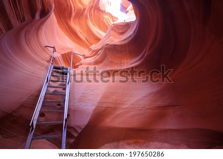 ladder down to the Antelope Canyon - stock photo