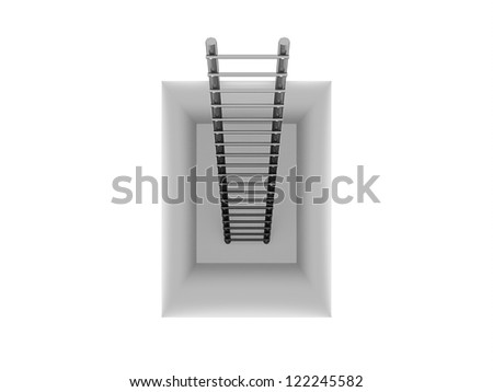 Ladder in the hole isolated on white background