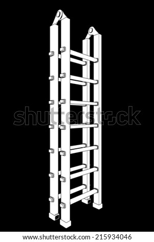 Ladder. isolated on black background. 3d