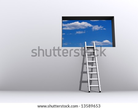 Ladder leading to sky - rendered in 3d - stock photo