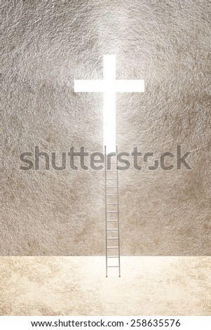 Ladder leads to bright cross - stock photo