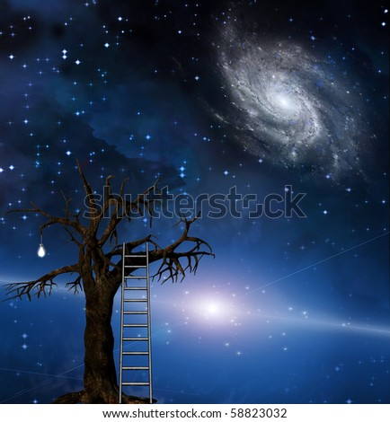 Ladder leans on tree of wisdom - stock photo