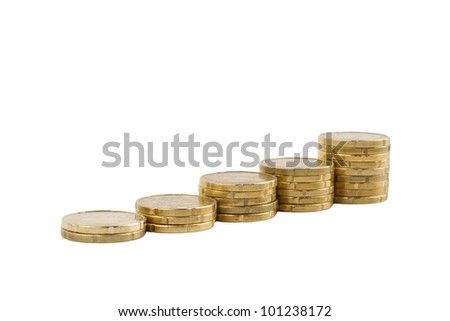 Ladder of coins isolated on white - stock photo