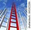 ladder of success climbing corporate risk competition choice sky is the limit - stock photo