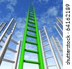 ladder of success climbing corporate risk competition choice sky is the limit business stocks market - stock photo