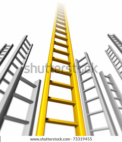 Ladder of success isolated representing gold success and persistence