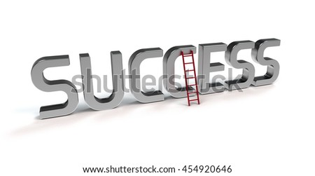ladder of success - symbolic 3D rendering - stock photo