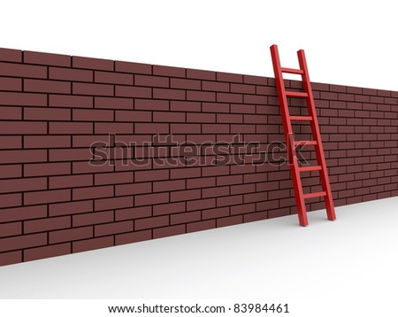 ladder on the wall. 3d rendered illustration