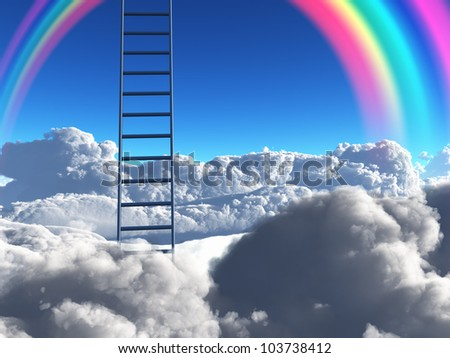 Ladder reaches into sky above clouds with rainbow - stock photo
