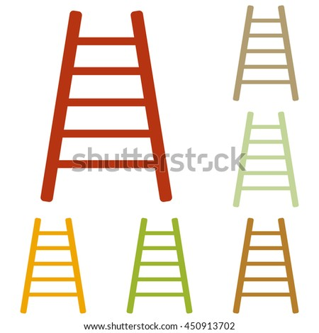 Ladder sign illustration. Colorful autumn set of icons.