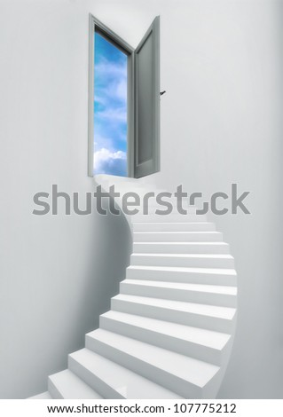 Ladder Stairs Heaven Door Freedom Blue Sky. Freedom Concept. - stock photo