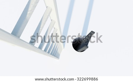 ladder to heaven and hell - stock photo
