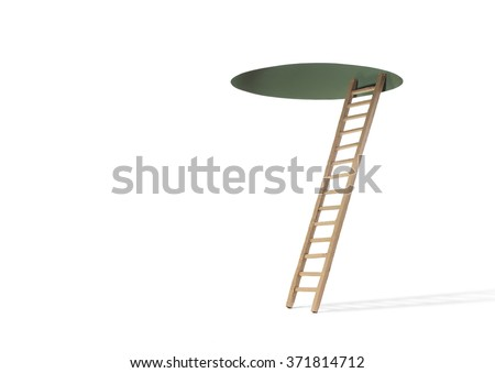 Ladder to Hole in Ceiling - stock photo
