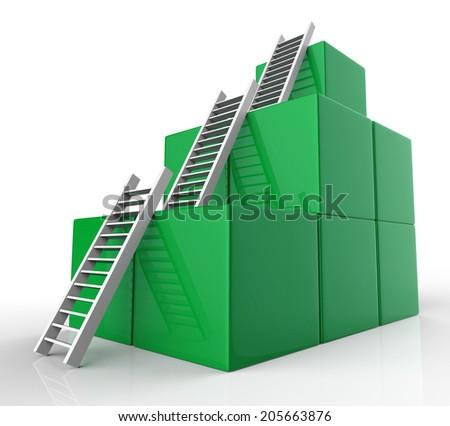 Ladders Growth Showing Upwards Winner And Progress - stock photo