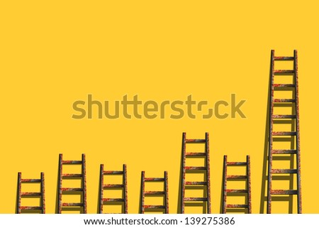ladders on yellow wall ,competition concept - stock photo