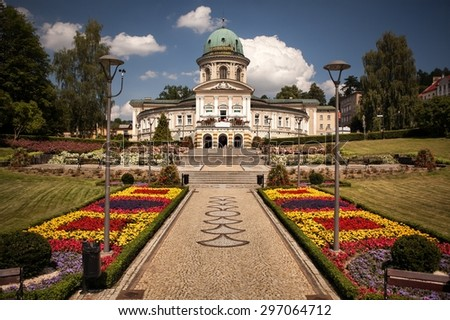 LADEK ZDROJ, POLAND - JUNI 21, 2014: Ladek Zdroj is a town in Klodzko County, Lower Silesian Voivodeship, in south-western Poland. The city is one of the oldest spas in Europe - stock photo