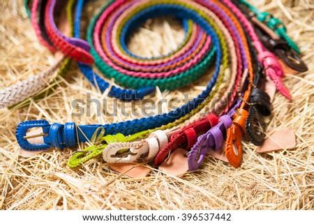 Ladies belts closeup - stock photo