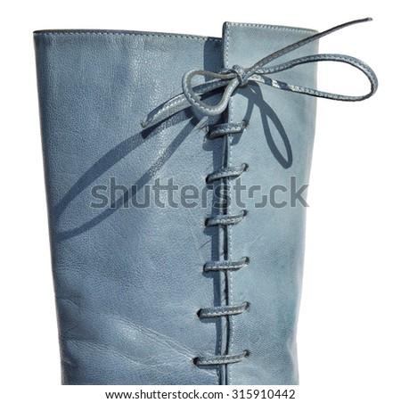 Ladies blue genuine leather boots - stock photo