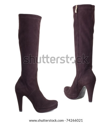 Ladies, brown  boots  on a white background. - stock photo