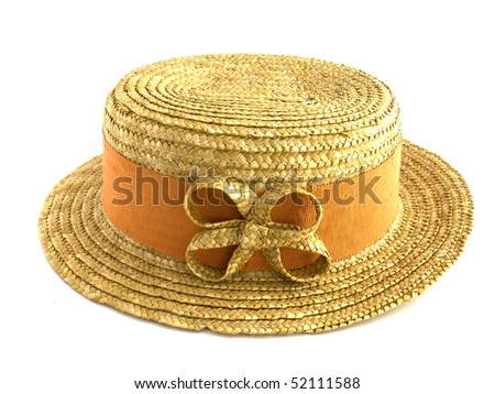 ladies hat on white isolated background - stock photo