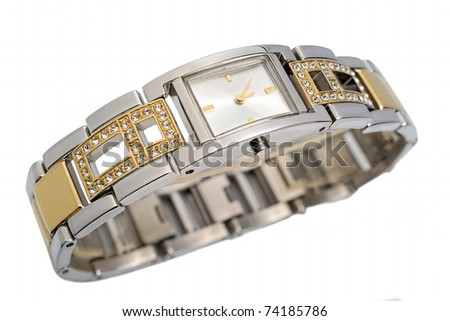 Ladies luxury wrist watch on white background. Studio shoot, not isolated.