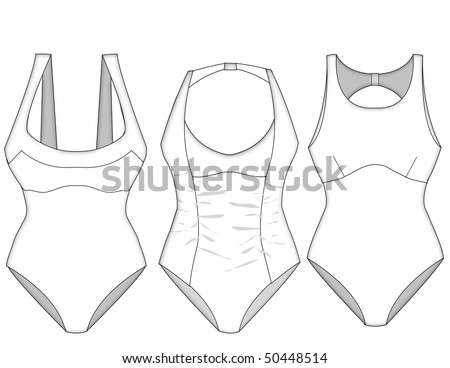 ladies missy swimwear vector block sketches with shadow and fabric layering details - stock photo