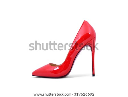 Ladies red patent leather shoes - stock photo