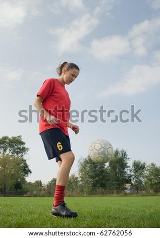 Ladies soccer - stock photo