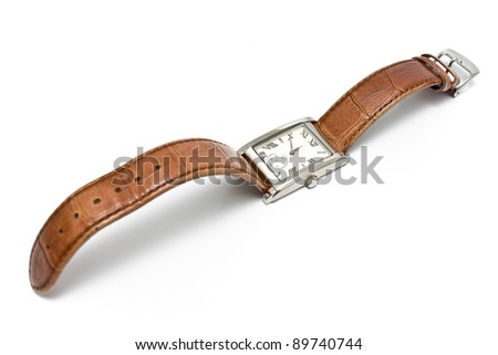 Ladies square wristwatch isolated on white - stock photo