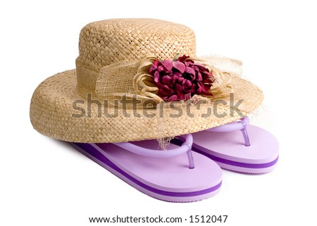 Ladies straw hat with flower decoration and purple flip-flops.
