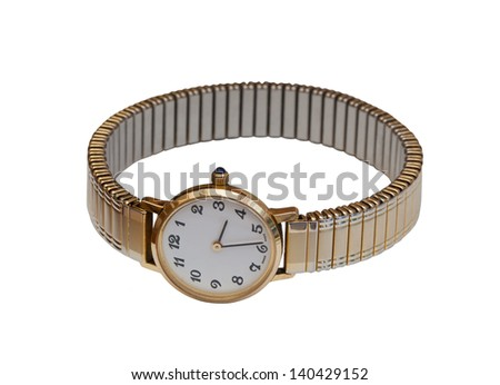 Ladies watch isolated on white - stock photo
