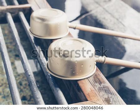 Ladles in japanese temple in Nikko, Japan - stock photo