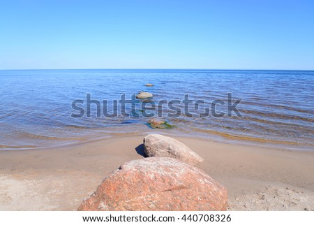 Ladoga lake at sunny morning, the Karelian Isthmus. - stock photo