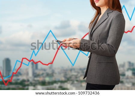 Lady and Graph report for economy - stock photo