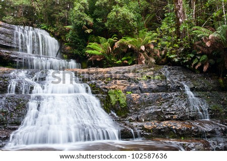 Lady Barron Falls, Mt Field National Park, Tasmania, Australia; in autumn - stock photo