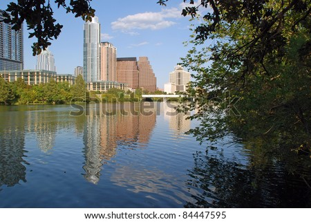 Lady Bird Lake Austin Texas, also known as Town Lake and Colorado River. - stock photo