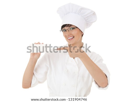 lady chef pointing on empty card, white background - stock photo