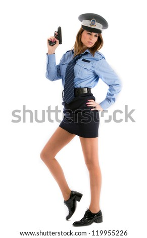 Lady cop posing with gun on white background - stock photo