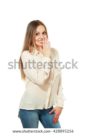 Lady covering moth with hand tells secrets to someone, isolated on white - stock photo