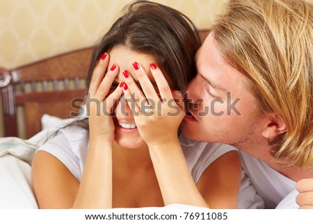 Lady feel embarrassed when her boyfriend kissed her