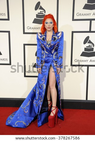 Lady Gaga at he 58th GRAMMY Awards held at the Staples Center in Los Angeles, USA on February 15, 2016. - stock photo