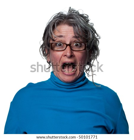 Lady has a huge surprise and her face shows it - stock photo