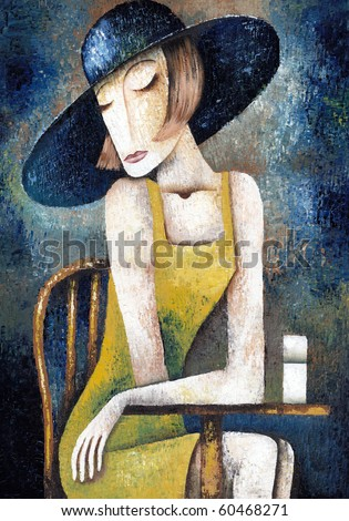Lady in cafe - stock photo